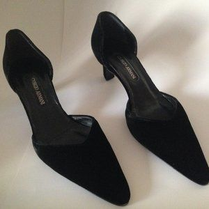 Giorgio Armani Black Velvet and Leather Pumps